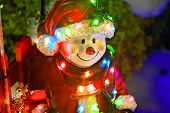 Christmas Figurine Toy Dressed In Santa Costume With Led Lights