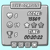 Game stone level complete icons buttons