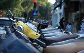 Many motobikes on the parking