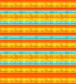 Background, horizontal lines orange, turquoise, gold.