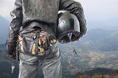 Bicker Holding His Crash Helmet Look Mountain