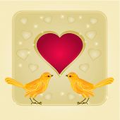 Frame Hearts And Two Golden Birds Vector