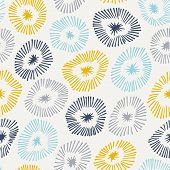 Vector Seamless Pattern With Flowers On White.  Background With Circle Ornamental Texture.