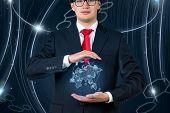 Businessman  Holding World Map