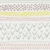 Abstract Stripes Horizontal Seamless Pattern. Background With Hand Drawn Shapes. Pastel Vector Textu