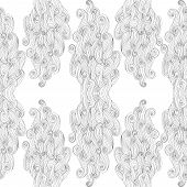 Vector Abstract Hand-drawn Pattern With Waves And Clouds. White Background. Endless White  Backdrop.