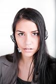 Woman customer service worker, call center female operator with phone headset