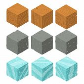 Isometric game brick cubes set.