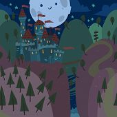 Cartoon flat Castle on a Hill at Night.