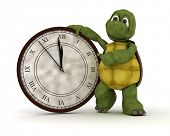3D render of a tortoise with clock at new years