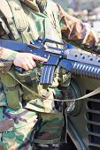 Close-up Picture Of Soldier With A Gun In Hand.