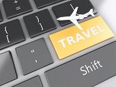 Travel and airplane on computer keyboard. Travel concept