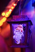 Christmas Festive  Lights Santa Lantern Lamp