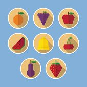 Set Of Fruit Flat Icons With Long Shadows