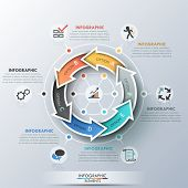 image of curves  - Modern infographics cycle template with 6 realistic curved colorful arrows - JPG