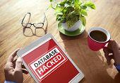 stock photo of hack  - Database Hacked Warning Digital Device Wireless Browsing Concept - JPG