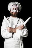 pic of chef knife  - Chef with pig mask and set of knifes isolated on black background - JPG
