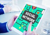 foto of social-security  - Social Network Internet Online Society Connecting Social Media Concept - JPG