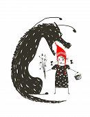Постер, плакат: Little Red Riding Hood and Black Scary Wolf
