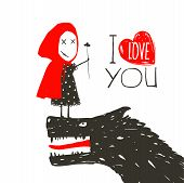 stock photo of little red riding hood  - Little Red Riding Hood loves bad horrible wolf - JPG