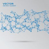 image of cybernetics  - Vector element of blue abstract cybernetic particles - JPG