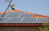pic of roof-light  - Solar panels on a roof - JPG