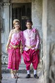 stock photo of ceremonial clothing  - ANGKOR WAT SIEM REAP CAMBODIA JANUARY 28 2015 - JPG