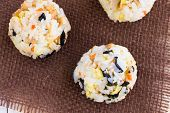 picture of spam  - Hawaiian rice balls mixed with spam carrots daikon and Korean seaweed  - JPG