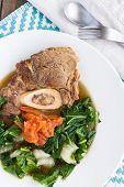 picture of beef shank  - Traditional Hawaiian soup made with beef shank bok choy and cooked tomatoes - JPG