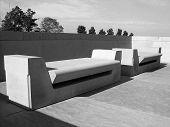 Empty Stone Benches