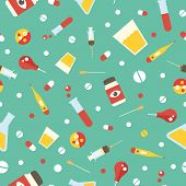 stock photo of penicillin  - Seamless pattern with medical supplies vector background - JPG