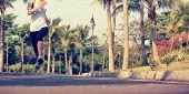 pic of jogger  - fitness jogger legs running at tropical park - JPG