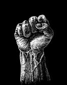 image of clenched fist  - Vector raised hard clenched fist drawn on the chalkboard - JPG
