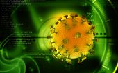 pic of hiv  - Digital illustration of  HIV Virus  in colour  background - JPG