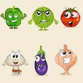 Постер, плакат: Funny cartoons of vegetable characters like capsicum cabbage tomato mushroom brinjal and onion w