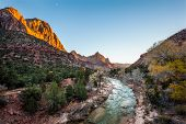 ������, ������: Beautiful Iconic Scene Of The Watchman At Sunset Zion National Park Utah