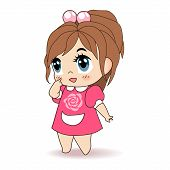 picture of chibi  - Little Girl, Children Vector Illustration for Your Projects - JPG