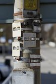 stock photo of manhole  - Manhole Locators help to find them in spring - JPG
