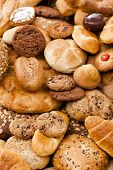 picture of carbohydrate  - Assortment of breads pastries and cookies Food backgrounds - JPG