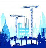 foto of lorries  - Building site with buildings - JPG