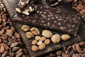 pic of cocoa beans  - Cocoa beans almonds and dark almond chocolate - JPG