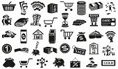 stock photo of bundle money  - Preview black icons in white background with subject of money - JPG