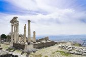 stock photo of akropolis  - Temple of Trajan in the ancient city of Pergamon Bergama Turkey - JPG