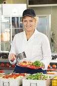 pic of school lunch  - Portrait Of Dinner Lady Serving Meal In School Cafeteria - JPG