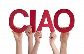 image of goodbye  - Many Caucasian People And Hands Holding Red Straight Letters Or Characters Building The Isolated Italian Word Ciao Which Means Goodbye Study On White Background - JPG