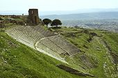 image of akropolis  - Ruins of ancient theater in acropolis of Pergamon - JPG
