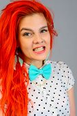 picture of bow tie hair  - Studio shot of young beauty young womanl with bow tie - JPG