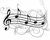 stock photo of g clef  - Abstract musical background with a treble clef and notes - JPG