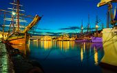 picture of sailing-ship  - Sailing ships in the harbour during the tall ships races Bergen Norway - JPG