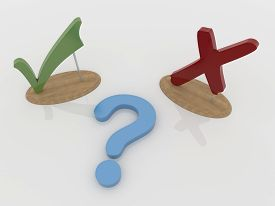 pic of punctuation marks  - Abstract 3D design of a green check mark tick and a red cross on a wooden support with a blue question mark on a white reflective floor - JPG